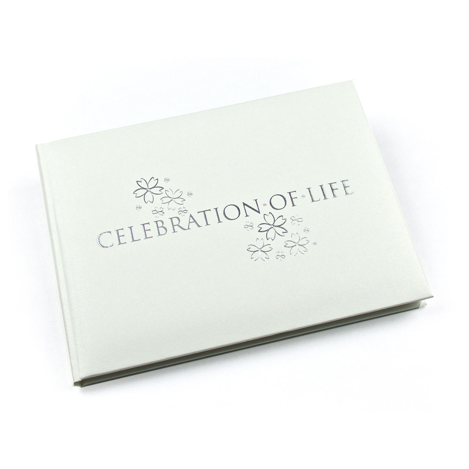 EL57CLW - Esposti Celebration Of Life - Condolence Book - Funeral Guest  Book - White - Open Format Inner Pages - 8 9 x 6 7 x 1 2 inches